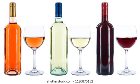 Wine bottles glasses wines red white rose isolated on a white background