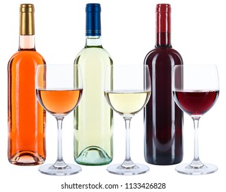Wine bottles glasses wines red white rose alcohol isolated on a white background