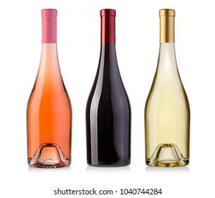 wine bottles isolated on white with clipping path
