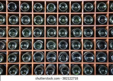 wine bottles on a shelf background