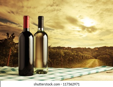 Wine bottles on vineyard background