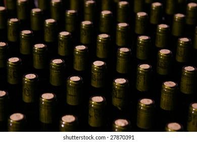 Wine bottles plugs in line