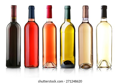 Wine bottles in row isolated on white