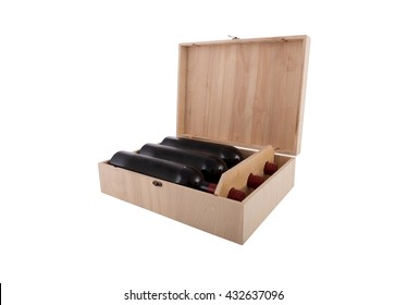 wine bottles in wooden box  isolated on white background