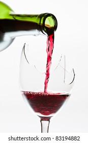 Wine in the the broken glass