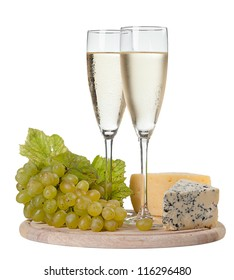 Wine by the glass, cheese and grapes