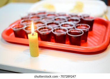 wine and a candle for the ritual