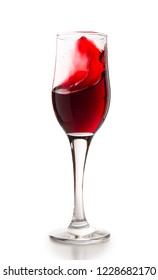 Wine card template. Set of goblet with red wine splashes