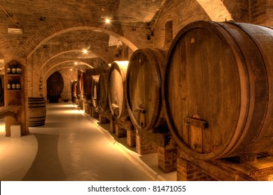 Wine cellar in the Benedictine Abbey of Monte Oliveto Maggiore, large monastery in Tuscany, Italy