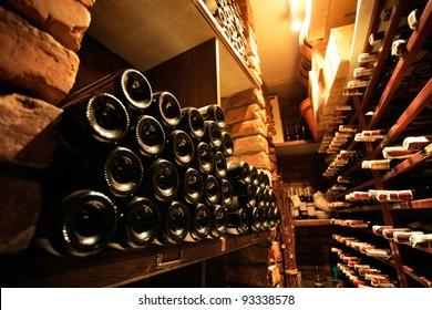 Wine cellar in small french restaraunt