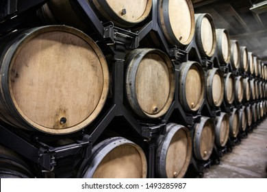 Wine and champagne barrels in the vineyards of Europe