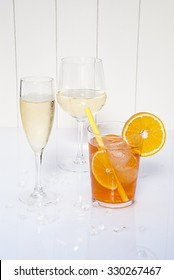 Wine, champagne and cocktail. Alcoholic drinks cold, aperol