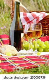 Wine cheese bread and fruits - outdoor picnic concept