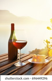 Wine and cheese. Lavaux region at Geneva lake, Switzerland
