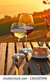 Wine and cheese on the terrace of vineyard in Lavaux region, Switzerland