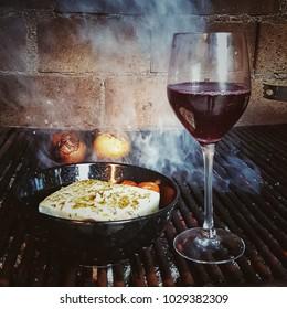 wine, cheese and tomato