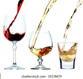 Wine, cognac, tequila