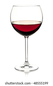 Wine collection - Red wine in glass. Isolated on white background