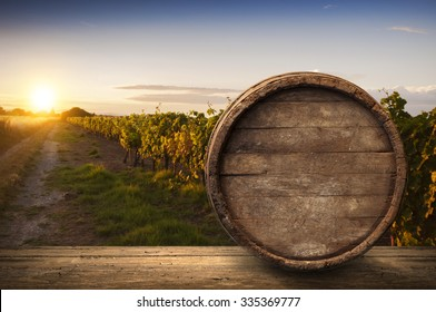 Wine composition with background of vineyard