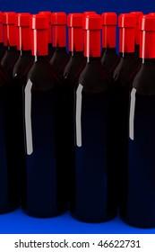 Wine composition. Bottle of old wine.