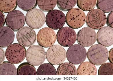 Wine cork background on white.