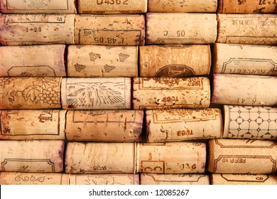 Wine corks arranged in rows