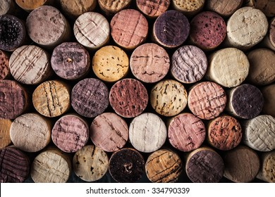 Wine corks background close-up