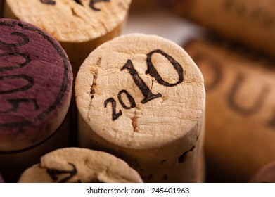 Wine Corks Close-up with the vintage 2010