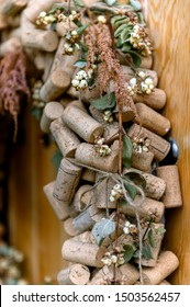Wine corks decoration on the wooden doods