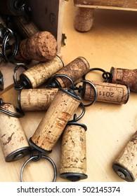 Wine corks fashioned into key fobs.