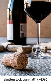 Wine Corks with glass and bottle.