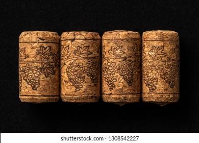 Wine corks on dark background