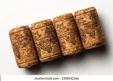 Wine corks on white background