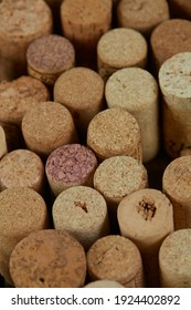 wine corks on wooden surface