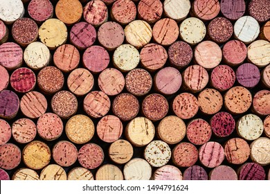 Wine corks Pattern. Various wooden wine corks  as a Background. Food and drink concept