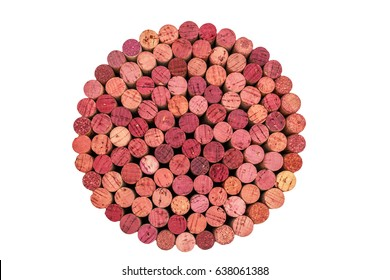 Wine corks set from red wine, top view. Different wine corks in round shape, isolated in white