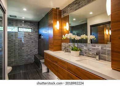 Wine Country Home Interior, Modern Remodeled Master Bathroom with Large Vanity Mirror and Flowers