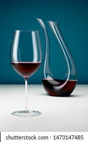 Wine Decanter Filled with Red Wine and Glass