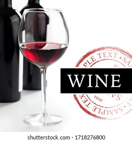 Wine design on white background - isolated text