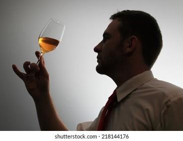 Wine expert testing wine silhouette image