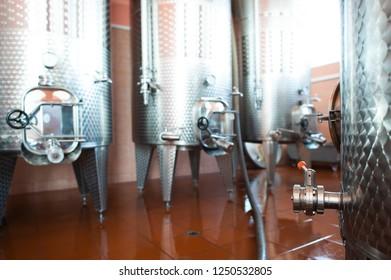 Wine fermenters in winery