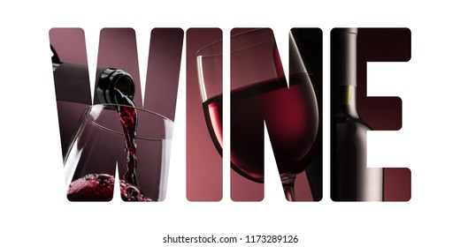Wine and fine drinking concept: bottle pouring wine into a wineglass and cut out text