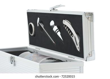 wine flight case isolated on white