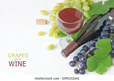 Wine in glases and grapes with leaves on white background