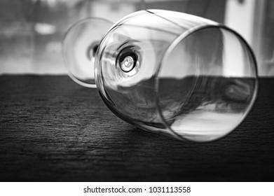 wine glass black white