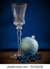 Wine Glass & Blue Ornament
