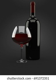 Wine glass with bottle on gray background. 3d illustration