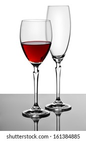 wine glass and champagne glass