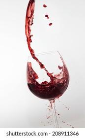 wine glass flowing