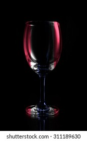 Wine glass on black background